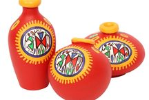 Red Terracotta Warli Handpainted Miniature Pots : Set Of 3