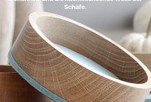 Bowls / Das Design dieser  handgedrechselten Schalen aus Eichenholz mit einem dekorativen wie nützlichen Dekor aus  Filz, ist  nicht nur wunderschön, die Schalen lassen sich vielseitig nutzen, sind stapelbar und der Filz sorgt dafür,  dass die Holzfläche geschont wird.