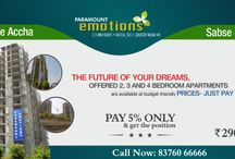 upcoming Project in Noida Extenssion / With its options of 2 BHK Flats, 3 BHK Flats, and 4 BHK Flats, Paramount Emotions offers great lifestyle at an affordable cost. Crafted elegantly and artfully structured, the project is an ultimate destination for you and your family. At our offered Flats, customers can enjoy the excellent location advantage and seamless connectivity.  http://www.paramount-emotions.in/