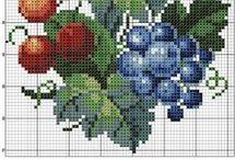Вышивка ягоды фрукты