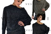 Maglia donna maglietta pullover barchetta maniche lunghe pipistrello nuova M06
