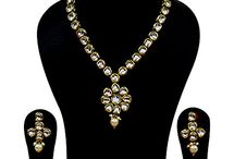 Indian Kundan Jewelry Necklace Set with Earrings  Stones: Kundan  Gold Plated Necklace