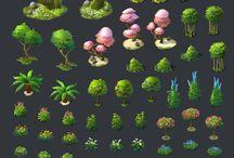 rośliny Cartoon 2d-3d