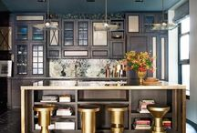 Kitchens {cabinets in color} / To all those who take risks...this one is for you. Colored cabinets in the kitchen.