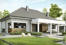 HomeKONCEPT 39 | Projekt domu / HomeKONCEPT 39 to bardzo atrakcyjny dom parterowy zaprojektowany w stylistyce nowoczesnej. Zachwyca modną, stonowaną kolorystyką oraz innowacyjnym wykończeniem elewacji. Strefę wejściową zdobi atrakcyjne belkowanie, które może pełnić również funkcję zadaszenia tarasu od strony elewacji ogrodowej. Wnętrze mieści bardzo wygodną, otwartą część dzienną, 3 sypialnie oraz bogate zaplecze gospodarcze.
