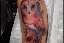 Water colour owl tattoos