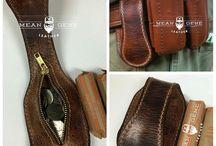 Leather belt pockets