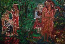 Donne sotto le palme / Olio sulla tela
