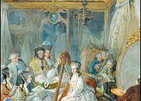 Рококо, Франция 18 век. /  Стиль в искусстве, возникший во Франции в первой половине XVIII века, во время правления регента Филиппа Орлеанского – отчасти продолжает черты, унаследованные от барокко, но сильно их видоизменяет. Стиль Рококо возник в период кризиса абсолютизма, отразив свойственные аристократии гедонистические настроения, тяготение к бегству от действительности в иллюзорный и идиллический мир театральной игры. Рококо - порождение исключительно светской культуры, двора, французской аристократии.