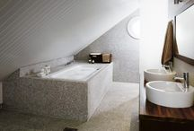 Tulikivi Interior: Bathroom / Natural and lively materials can work wonders in bathrooms and washrooms. Soapstone is also a safe choice as it does not get slippery when wet.