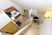 Suite & Chambre par Les 2 Rives / L'hôtel Les 2 Rives a fait le choix d'utiliser des matériaux respectueux de l'environnement.  Côté ambiance des couleurs douces et des lignes épurées pour le mobilier font échos à l'environnement naturel de la Lozère et de la Vallée du Lot
