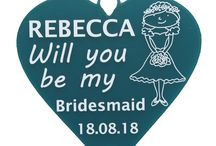 Wedding Board all about: Bridesmaid,  Maid of Honour & Flower Girl Gifts / Ask a special friend or family member to be part of you wedding bridal party or say thank you for supporting you on your big day with these personalised gifts. Will you be my... and thank you for being... available in bridesmaid, maid of honour and flower girl. Our heart shaped keepsakes come in a range of colours including teal, pink, pale and dark blue, purple, plum, green, black, red. The perfect keepsake for you best friend to remember your wedding day.   All your gifts & keepsakes, personalised from Little Shop of Wishes