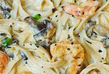 Shrimp mushrooms pasta