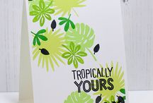 Tropically Yours stamp of Approval Collection / A great collection of stamps for hand made cards.  Includes tropical leaves, hibiscus flowers and birds of paradise, flamingos and palm trees along with fabulous sentiments for encouragement.