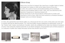 Bauhaus Designer - Eileen Gray / Eileen Gray wurde in Irland geboren. Sie entstammte einer wohlhabenden Künstlerfamilie und begann ihr Studium 1898 an der Slade School of Fine Arts.◥◣◥◣◥◣ Eileen Gray was born in Ireland. She came from a wealthy family of artists and began her studies in 1898 at the Slade School of Fine Arts.  In 1902, she went to France and studied painting at the Académie Colarossi and Académie Julian in Paris.