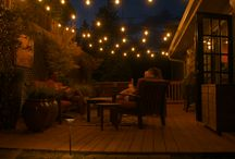 Bistro and String Lighting...and some fire / Bistro lighting is typically used for outdoor living space. Here are a few projects we have designed and installed bistro lights. These are all low voltage bistro lights.