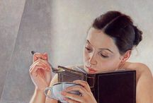 ART -  Van Hove, Francine / (born May 5, 1942) She is a contemporary French painter. She is known for her paintings of young women with dreaming attitudes.