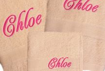 Personalised Towels / Embroidered bath towels personalised with customised names, motifs or monogrammed initials.  Lots of towel colours, embroidery thread colours and font styles to choose from.