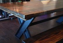 Industrial Steel and Wood Furniture / Gorgeous solid wood paid with industrial steel is a match made in handcrafted heaven!