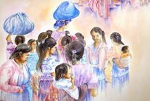 Scènes de vie / Bavardages entre amis, jeux, gestes quotidiens, tout se prête à quelques touches de couleur pour révéler ces instants qui semblent naturels à qui les observe. La simplicité est à l'honneur ! Dans les carnets de voyage, elles s'enchaînent et font l'objet de croquis en permanence. Le Guatémala fut à cet égard le paradis de la scène de vie.