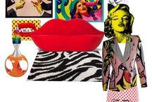A. SET POP. POLYVORE / Set pop. Diseño de interiores. AMBIENTE TIPO POP. AÑOS 60.  Inspiración: Verner Panton, Eero Aarnio (ball-chair), Saarinen (tulip chair), Andy Warhol, Roy Lichtenstein (pop art)...