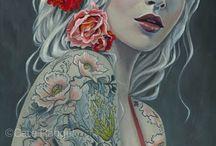 Cate Rangel / Un artista autodidatta da Los Angeles, pittore Cate Rangel crea un'opera che è pieno di significato personale. Con una laurea in Psicologia, trasferisce facilmente le proprie emozioni nei suoi soggetti femminili. Non sono le immagini del suo sé fisico, ma specchi psicologici che sono un mix di audacia e di fragilità, e sottolineano la forza e la bellezza della figura femminile. Il lavoro di Cate è stato esposto in gallerie di Los Angeles, San Francisco, New York etc..>>.