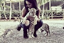 Girls and wild animals
