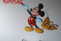 Muurschilderingen Mickey, Minnie, Donald, Daisy, Goofy en Pluto