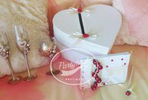 """Ivory/Gold/Red Wedding Set - handmade wedding glasses, guest book, gift box, etc / Gorgeous Wedding Set """"Treasure"""" in Gold, Ivory and Red  10% DISCOUNT of the price (if you buy the product separately, you would pay 218$)  the price is for the whole set of :  * Guest Book *Wedding Glasses  *Goblet for Unity Wine Set * Wedding Gift box *Wedding ring box * Wedding basket/Flower girl basket * Guest Book pen  The wedding set is part of the series """"Treasure"""""""
