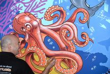 Octopus and Sharks mural / This mural was painted for an 8 year old boy. He wanted an underwater scene with a galleon, some sharks and a giant octopus. Although the scene may appear a little scary with the sea creatures, the boy now wants to become a diver.