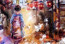 """Exhibition """"Lise Saint-Cyr"""" / O trabalho da artista canadiana Lise St-Cyr é inspirado nas gueixas japonesas, na figura feminina, na subserviência e aparente ingenuidade. As aguarelas retratam poeticamente a sensualidade da mulher, sua delicadeza e exotismo. As personagens em questão, apesar de estarem adornadas com cores quentes e exuberantes, não transmitem uma sensualidade exacerbada e pecaminosa, pelo contrário, transmitem tranquilidade e despertam fascínio. Lise St-Cyr vive e trabalha em Quebec, Canadá."""