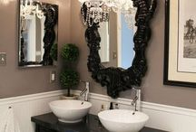 Bathroom Chandeliers / We love chandeliers in bathrooms, nothing adds a sense of luxury like a chandelier.