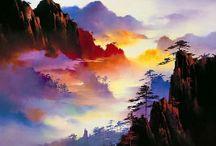 színes hegyek