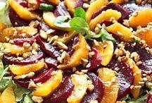 sałatki, warzywa, grzyby