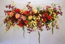 Chandeliers and hanging flower installations