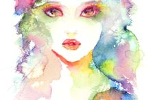 Watercolour/ink faces