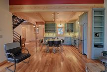 Santa Cruz Mountains / Small home in the Santa Cruz Mountains. Metal roof, exposed beams, deck, redwoods, wood floors, open kitchen, vaulted ceiling, water conservation, drought resistant, fire resistant.