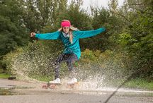 ANNIE | LONGBOARDING IN THE RAIN / For full story visit my Behance https://www.behance.net/vojtechpetr  #longboarding #rain #splash #slide #water #fun