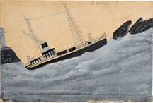 Alfred Wallis / Alfred Wallis (1855-1942) is one of the most original and inspiring British artists of the 20th Century. Living in St.Ives, Cornwall and with no training, Wallis took up painting late in life 'for company' after the death of his wife. Previously, he had worked as a mariner, crossing the Atlantic and later working smaller fishing boats. With only household oil paint in limited colours on found bits of card, Wallis made works that are, as he said himself, more experiences and events than paintings