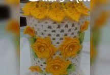 potes decorado com crochê