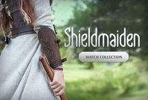"""Viking's and Shieldmaiden collections / """"Viking"""" collection: number of natural linen and sackcloth tunics with embroidery, woolen coats, leather and brass armor, bracers, swords and sheath."""