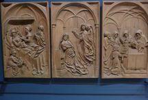 Nascita di Maria, Annunciazione, presentazione al Tempio / Nascita di Maria, Annunciazione, presentazione al Tempio. 1520, scultore del Reno Superiore. Friburgo, Augustinermuseum