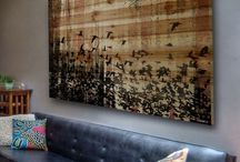 wooden art on wall
