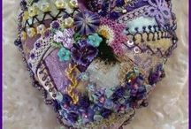 craft - crazy patchwork / free-form patchwork and embroidery combined to create rich and dense tactile creation