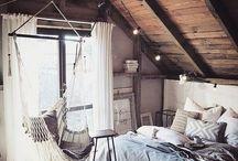 Bedroom | Decor / Bedroom, bedding, bedroom decor, bohemian bedroom, headboard, DIY headboard, bedside table, lighting, bedroom storage, Navajo, styling