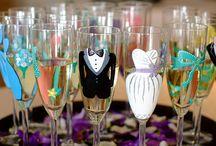 Handmade Wedding Glasses / Painted Wedding glasses