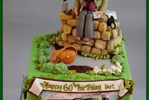 Bespoke celebration cakes / Unique celebration cakes that tell a story. Handmade sugar and chocolate figures and models decorating a delicious cake.