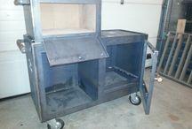 Stalen Buitenhaard / Zelf ontworpen stalen buitenhaard met wok, bbq en (pizza)oven