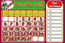 MY CLASSROOM CALENDAR 2015 / This mini pack contains:  - 1 set of Calendars to display in the classroom, with blank spaces to write your students' birthdays ( also available in B&W). http://eslchallenge.weebly.com/calendar-2015.html  Hope you like the resources, Evelina Aguiar (evelinamaria)