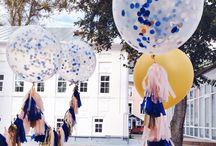 tassel garland, big balloons, decor